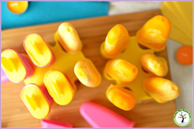 Coconut, mango and passion fruit ice-cream recipe.