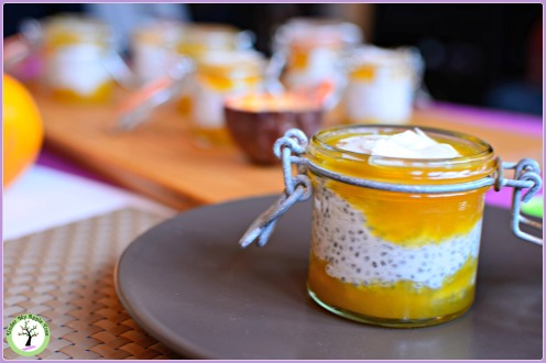 Coconut chia pudding with passion fruit sauce recipe. Gluten free, dairy free, vegan.