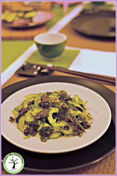 Japanese wakame and cucumber salad,. Dairy-free, gluten-free, vegan.